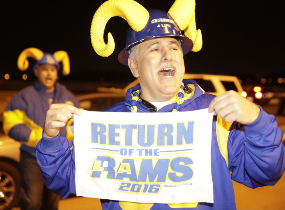 After 21 years in St. Louis, the Rams are heading to Los Angeles. The relocation is being warmly received in L.A.-- The Rams left the city in 1995 after being there since 1946.  (AP Photo/Damian Dovarganes)
