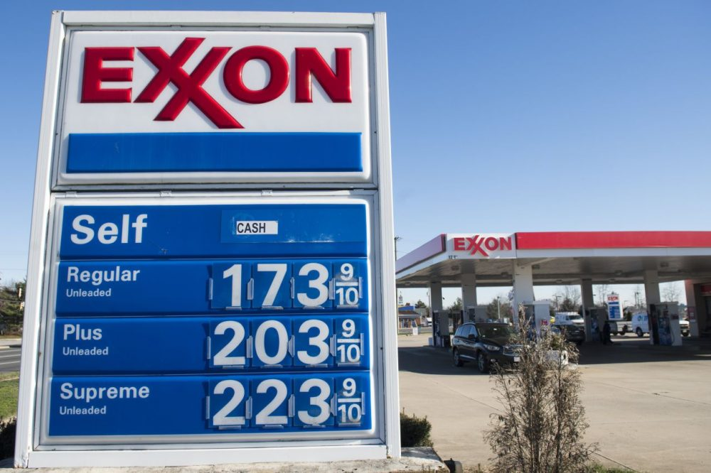 Gas prices are displayed at an Exxon gas station in Woodbridge, Virginia, January 5, 2016. Oil prices fell further January 5 as the crude supply glut overshadowed a diplomatic row between key producers Saudi Arabia and Iran as fuel prices in the US have fallen below $2 per gallon. (Saul Loeb/AFP/Getty Images)