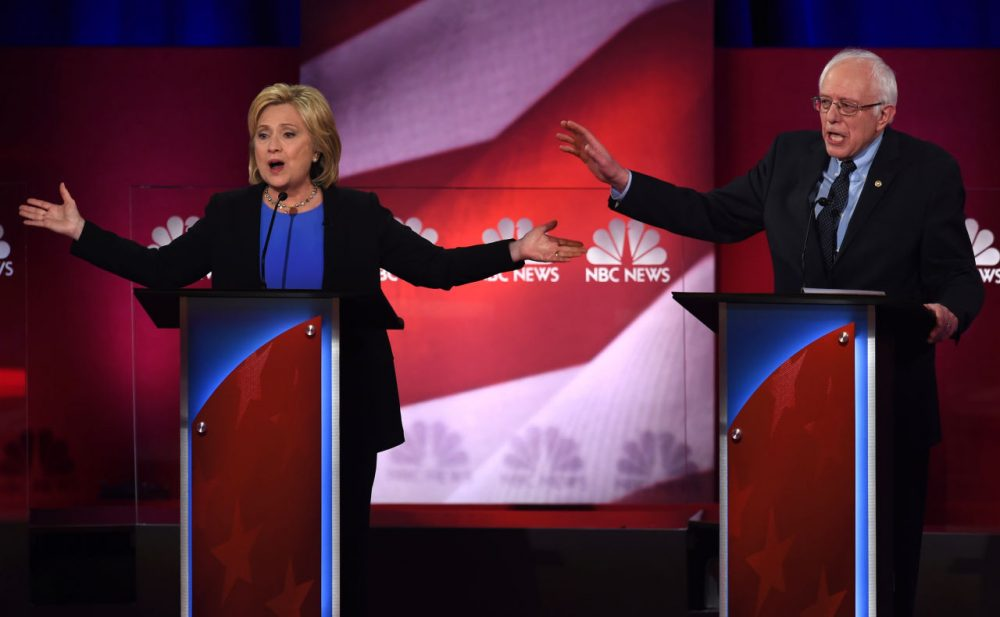Democratic presidential candidates Hillary Clinton and Bernie Sanders participate in the NBC News -YouTube Democratic Candidates Debate on January 17, 2016 at the Gaillard Center in Charleston, South Carolina. (Timothy A. Clary/AFP/Getty Images)