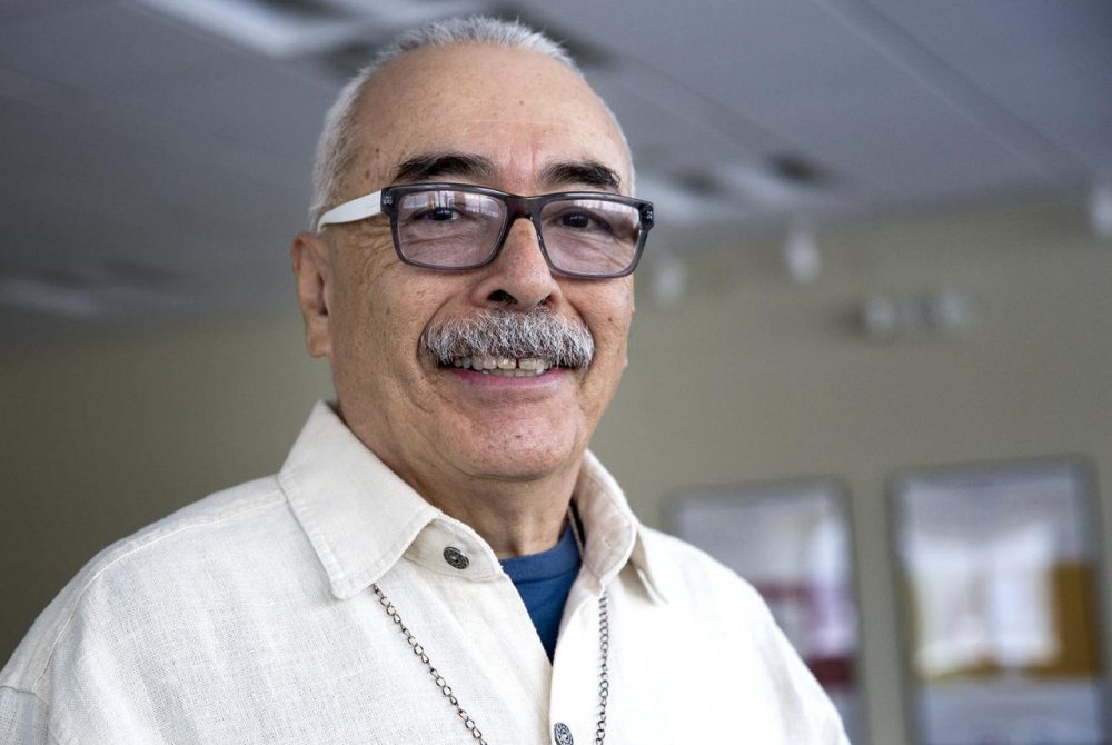 Poet Laureate Juan Felipe Herrera is pictured at Here & Now on Jan. 18, 2016. (Robin Lubbock/WBUR)