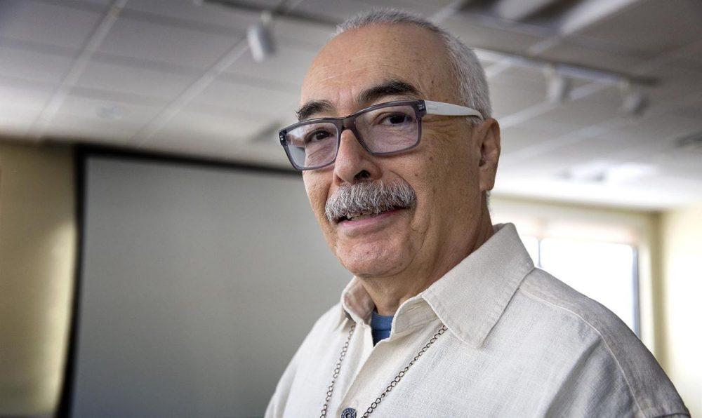 U.S. Poet Laureate Juan Felipe Herrera at WBUR. (Robin Lubbock/WBUR)