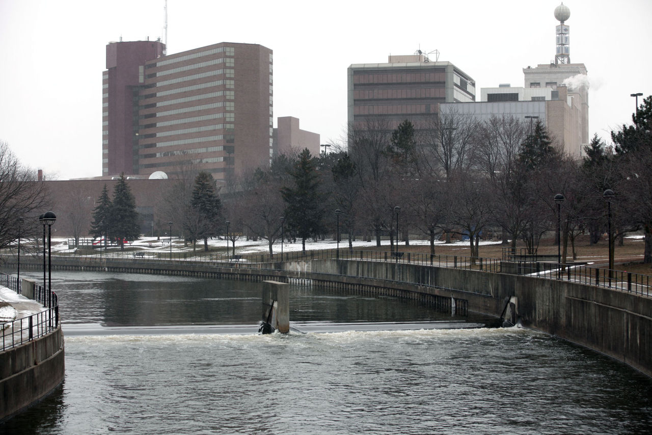 The Flint River flows  downtown in Flint, Michigan on January 17, 2016. President Barack Obama declared a federal emergency in Michigan, which will free up federal aid to help the city of Flint with lead contaminated drinking water. Michigan Gov. Rick Snyder requested emergency and disaster declarations after activating the National Guard to help the American Red Cross distribute water to residents.  (Bill Pugliano/Getty Images)