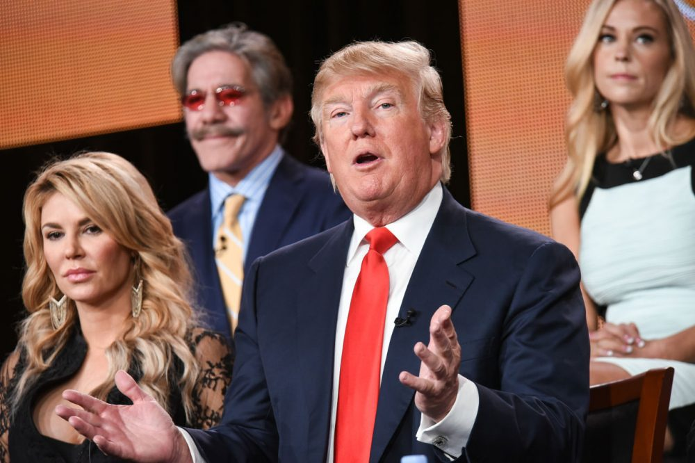 "Brandi Glanville, from left, Geraldo Rivera, Donald Trump, and Kate Gosselin participate in the ""The Celebrity Apprentice"" panel at the NBC 2015 Winter TCA in January 2015. (Richard Shotwell/Invision/AP)"