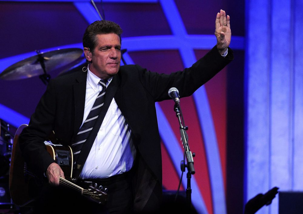 """Musician Glenn Frey of The Eagles performs onstage during the 16th Annual Race to Erase MS event themed """"Rock To Erase MS"""" co-chaired by Nancy Davis and Tommy Hilfiger at the Hyatt Regency Century Plaza on May 8, 2009 in Century City, California. (Kevork Djansezian/Getty Images)"""
