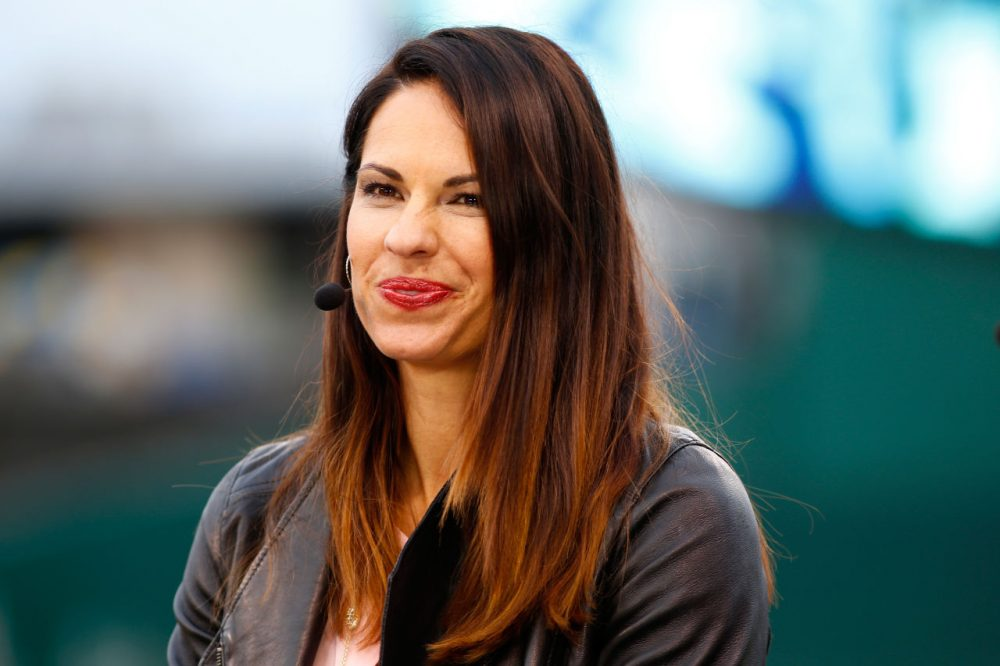 Jessica Mendoza of ESPN speaks on set the day before Game 1 of the 2015 World Series between the Royals and Mets at Kauffman Stadium on October 26, 2015 in Kansas City, Missouri.  (Maxx Wolfson/Getty Images)