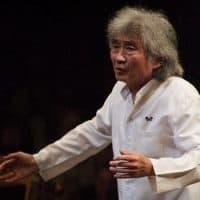 Seiji Ozawa directing the BSO the last time he was at Tanglewood on Aug. 5, 2006. (Jon Winslow/AP)