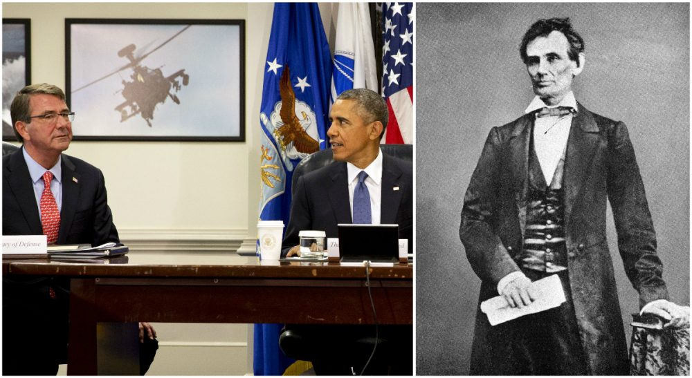 In the photo on the left, U.S. Defense Secretary Ash Carter and President Obama are pictured during an update on the Islamic State at the Pentagon on July 6, 2015. On the right,  President Abraham Lincoln is pictured in an undated portrait. (AP photos)