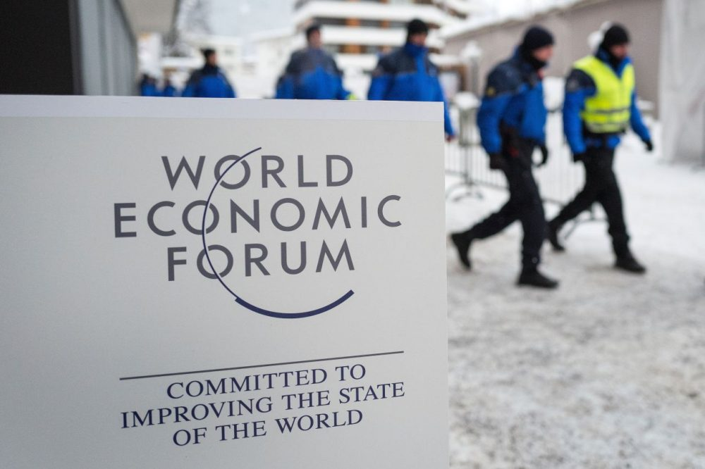 Swiss police officers take position during the World Economic Forum annual meeting in Davos, on January 20, 2016. (Fabrice Coffrini/AFP/Getty Images)