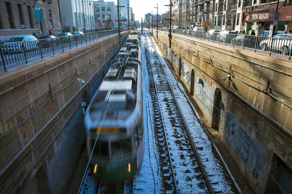 An MBTA Green Line train heads into a tunnel on Huntington Avenue. (Jesse Costa/WBUR)