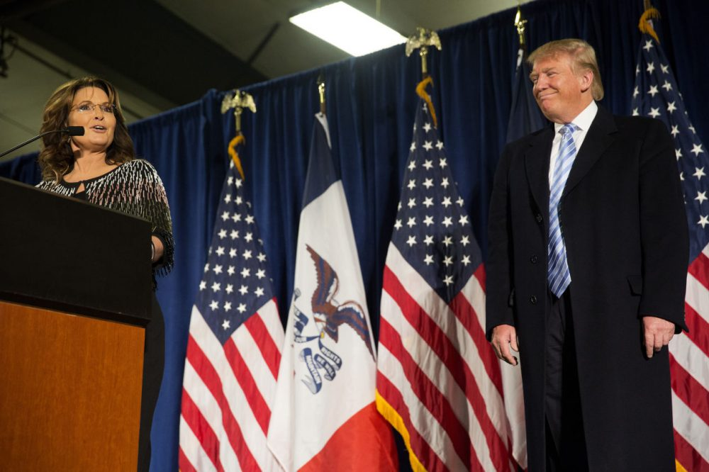 Former Alaska Gov. Sarah Palin speaks at Hansen Agriculture Student Learning Center at Iowa State University on January 19, 2016 in Ames, IA. Palin endorsed Donald Trump's run for the Republican presidential nomination.  (Aaron P. Bernstein/Getty Images)