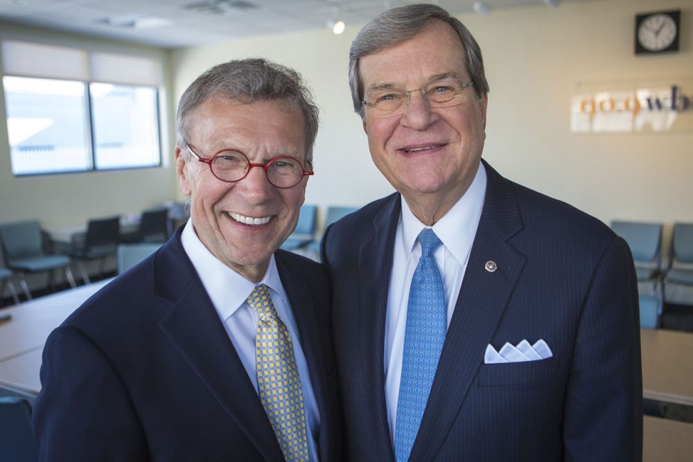 Former Senators Tom Daschle and Trent Lott are pictured at the WBUR studios. (Jesse Costa/WBUR)