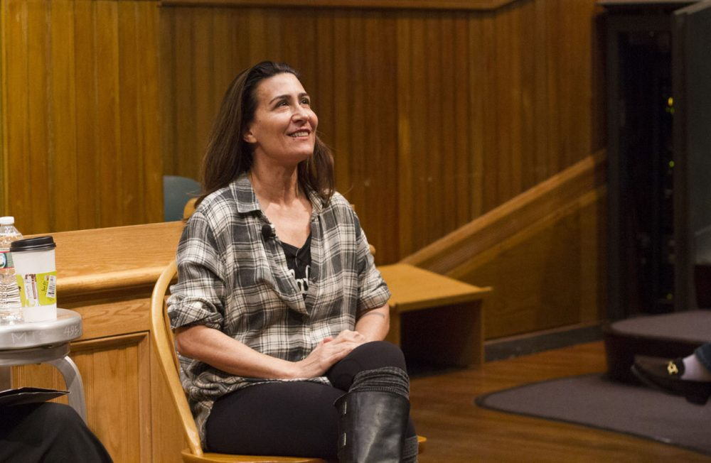 "Composer Jeanine Tesori speaks at Harvard University while her show ""Violet"" plays at the  Calderwood Pavilion in Boston. (Joe Difazio/WBUR)"