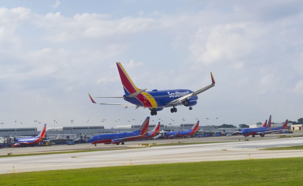 A Southwest airlines plane lands at Chicago's Midway Airport in Chicago on September 24, 2015.      (Karen Bleier/AFP/Getty Images)