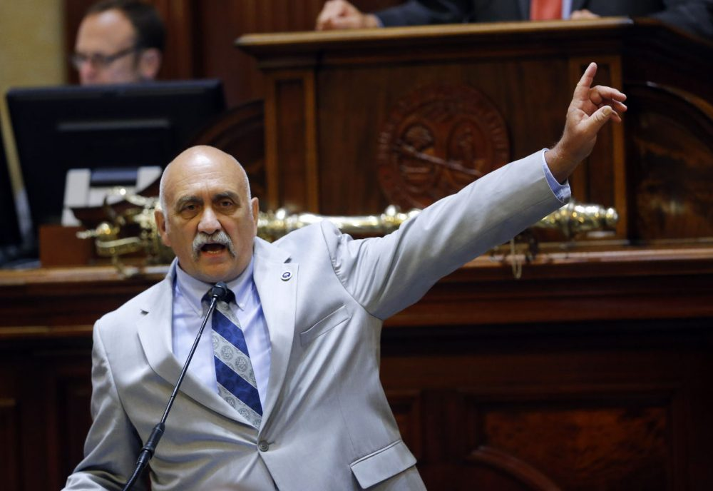 South Carolina state Rep. Mike Pitts, R-Laurens, speaks on the floor of the South Carolina House during debate over a Senate bill calling for the Confederate battle flag to be removed from the statehouse grounds Wednesday, July 8, 2015, in Columbia, S.C. (John Bazemore/AP)