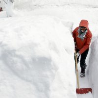 Julie Wittes Schlack: Mathematical uncertainty hasn't prevented me and everyone I know from obsessing over the mere possibility of a blizzard. In this photo from last winter, a woman shovels a path in the snow in front of her Norwood, Mass., home. (Steven Senne/AP)