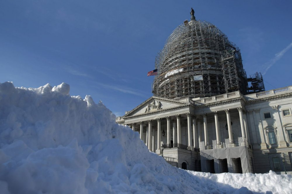 A pile of shoveled snow stands in the plaza on the east side of the U.S. Capitol January 21, 2016 in Washington, DC. One inch of snowfall delayed school openings in the greater Washington, DC, area on Thursday as people along the Easter Seaboard prepare for a blizzard to arrive within the next 24 hours.  (Chip Somodevilla/Getty Images)