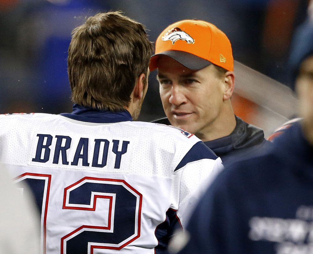 Gary Myers delves into the rivalry between New England Patriots quarterback Tom Brady and Denver Broncos quarterback Peyton Manning. The two will meet again in Sundays AFC Championship. (AP Photo/Joe Mahoney)
