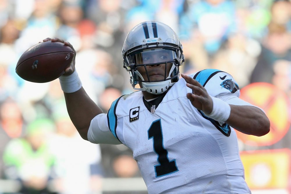 Cam Newton and the Carolina Panthers will take on the Arizona Cardinals for a shot at the Super Bowl in this weekend's NFC Championship. Charlie is hoping for a blizzard. (Photo by Streeter Lecka/Getty Images)
