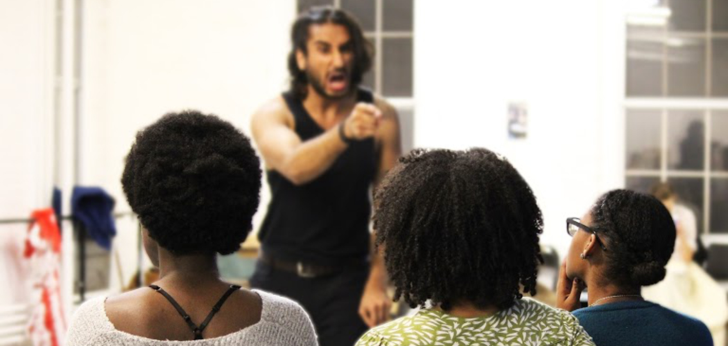 "Harsh Gagoomal (top) rehearses for ""An Octoroon"" with fellow actors Obehi Janice, Amelia Lumpkin and Elle Borders. (Courtesy Lauren Miller/Company One)"