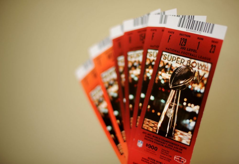 Tickets for Super Bowl XLIV are seen on February 5, 2010 in Miami Gardens, Florida. The Indianapolis Colts will play the New Orleans Saints in the NFL's championship game Sunday February 7, 2010.  (Michael Heiman/Getty Images)