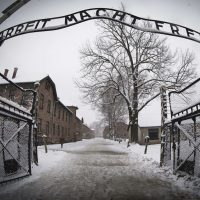 """The entrance to the Nazi concentration camp Auschwitz-Birkenauin in Oswiecim, Poland on January 25, 2015. The words """"Arbeit Macht Frei"""" translates to '""""Work makes you free."""" (Joel Saget/AFP/Getty Images)"""