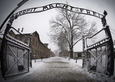 "The entrance to the Nazi concentration camp Auschwitz-Birkenauin in Oswiecim, Poland on January 25, 2015. The words ""Arbeit Macht Frei"" translates to '""Work makes you free."" (Joel Saget/AFP/Getty Images)"
