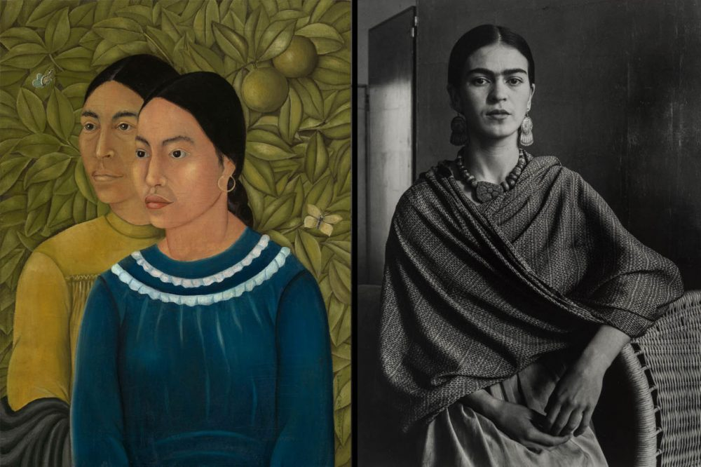 """Dos Mujeres (Salvador y Herminia)"" (1928), left, photograph of Frida Kahlo. (Courtesy MFA Boston)"