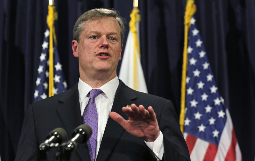 Mass. Gov. Charlie Baker unveils his 2016 budget proposal in March 2015. (Charles Krupa/AP)