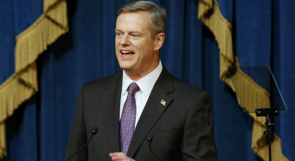 Massachusetts Gov. Charlie Baker delivers his State of the State address at the State House in Boston, Thursday, Jan. 21, 2016. (Michael Dwyer/AP)