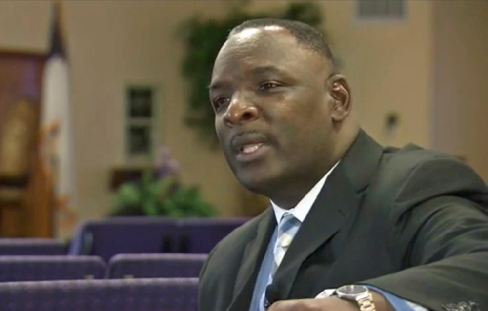 In this screen grab from WRAL-TV in Raleigh, North Carolina, Rev. Larry Wright talks about what happened when a man walked into his church with a rifle. (WRAL)