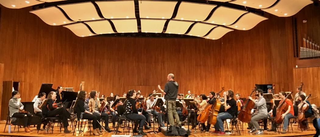 The community orchestra rehearsing at MIT. (Courtesy Christine Southworth)