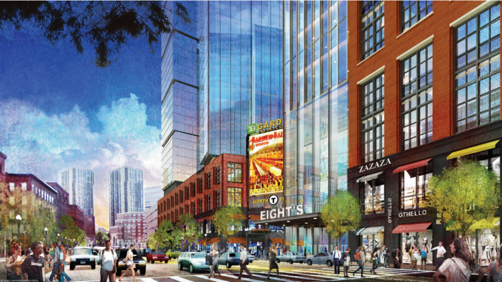 A rendering of the Causeway Street perspective of the future development. (Courtesy of Boston Redevelopment Authority)