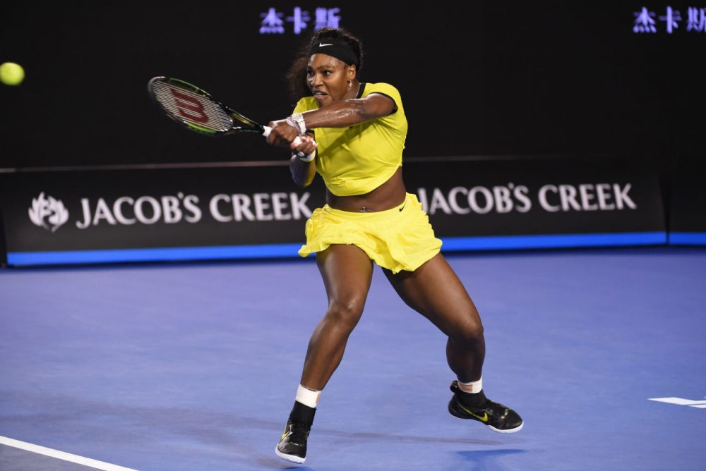 Serena Williams of the U.S. plays a backhand return  during her women's singles semi-final match against Poland's Agnieszka Radwanska on day eleven of the 2016 Australian Open tennis tournament in Melbourne on January 28, 2016. (William West/AFP/Getty Images)