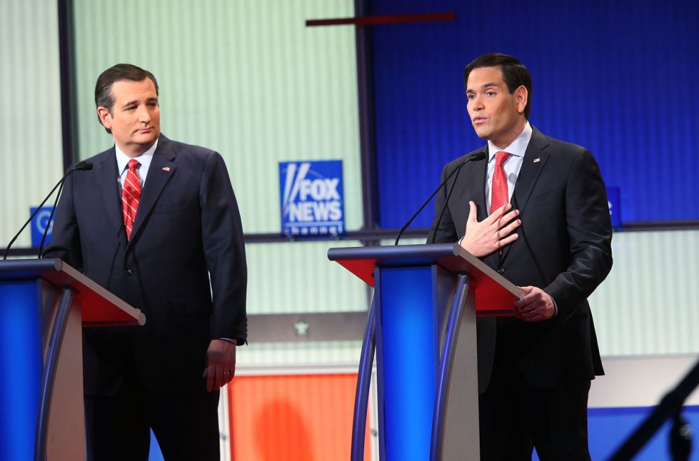 Republican presidential candidates Sen. Ted Cruz (R-TX) and Sen. Marco Rubio (R-FL) participate in the Fox News - Google GOP Debate on January 28, 2016, at the Iowa Events Center in Des Moines, Iowa. Residents of Iowa will vote for the Republican nominee at the caucuses on February 1. Donald Trump, who is leading most polls in the state, decided not to participate in the debate.  (Scott Olson/Getty Images)
