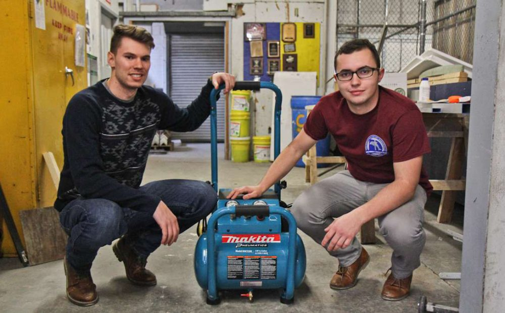 Senior Oliver Tillman and junior Frederick Wachter are part of the Drexel Hyperloop Team. They use air compression in their design. (Kimberly Paynter/WHYY)