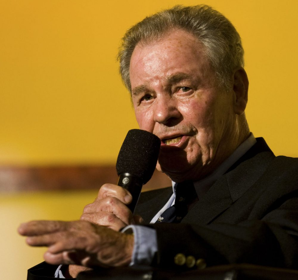 NASCAR announcer Barney Hall died this week at the age of 83. (Photo by Chris Keane/Getty Images for NASCAR)