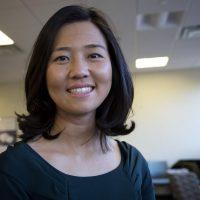 Boston City Council President, Michelle Wu, at WBUR. (Robin Lubbock)