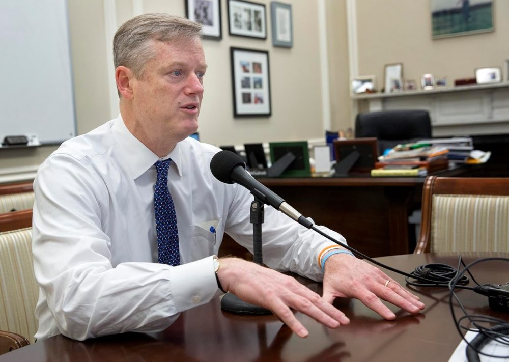 Gov. Charlie Baker speaks to WBUR in his State House office in December. (Robin Lubbock/WBUR)