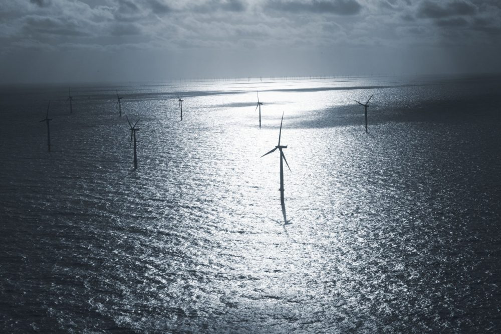 Some of the wind turbines which make up part of one of the world's biggest offshore wind farms operated by Dong Energy in the North Sea, 19 miles west of Denmark's Jutland peninsula. Denmark, a pioneer in wind energy, has six other offshore wind farms. (Jasper Carlberg/AP)