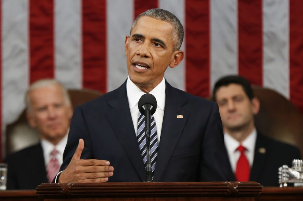 President Barack Obama delivers his State of the Union address before a joint session of Congress on Capitol Hill in Washington, Tuesday, Jan. 12, 2016. (Evan Vucci/AP)