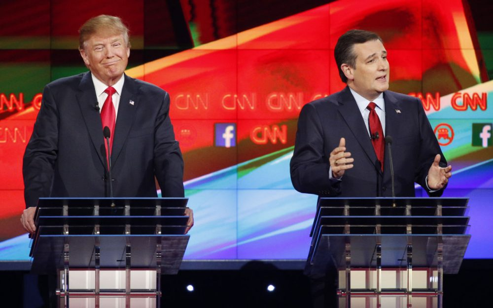 The controversy around Ted Cruz's citizenship is being fueled by Donald Trump, but a prominent constitutional scholar from Harvard, who actually taught Ted Cruz in the 1980s, says by Cruz's own logic he's not eligible for the presidency. Pictured here, Trump and Cruz at a debate last month. (John Locher/AP)