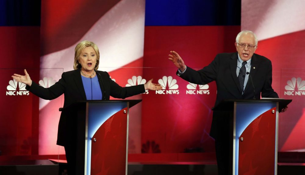 Health care -- and the extent of the government's role in it -- have become a key issue in the Democratic presidential primary. Here, candidates Hillary Clinton and Bernie Sanders are seen in a debate on Jan. 17 in Charleston, S.C. (Mic Smith/AP)