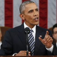 President Barack Obama delivers his State of the Union address to a joint session of Congress on Capitol Hill in Washington, Jan. 12, 2016. (Evan Vucci/ AP)