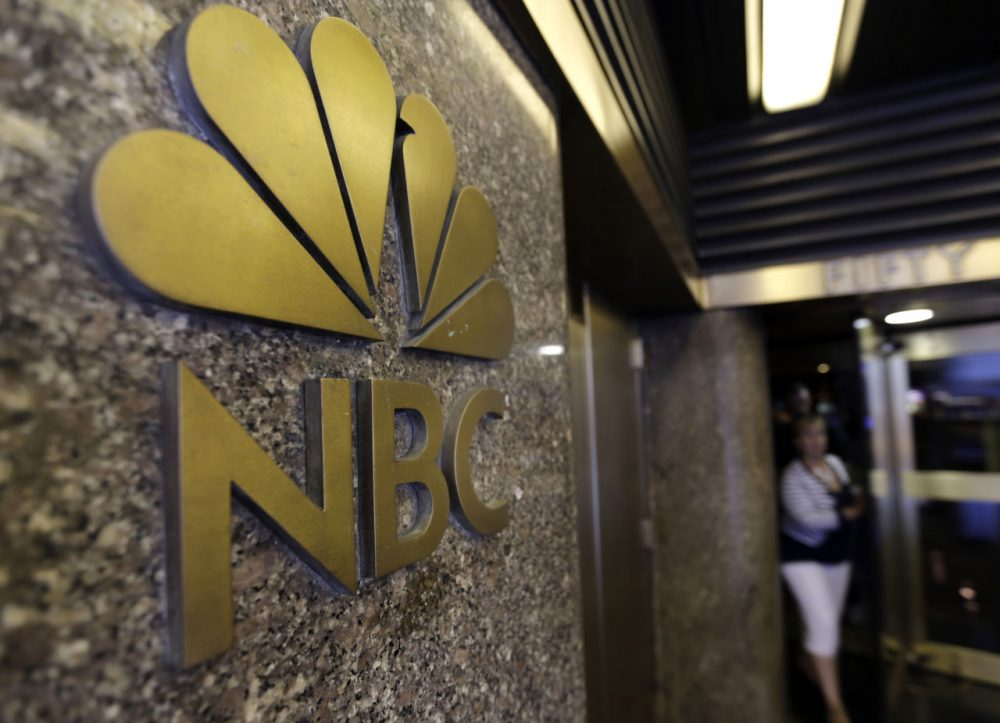 The NBC logo at 30 Rockefeller Plaza, in New York City. (Richard Drew/AP)