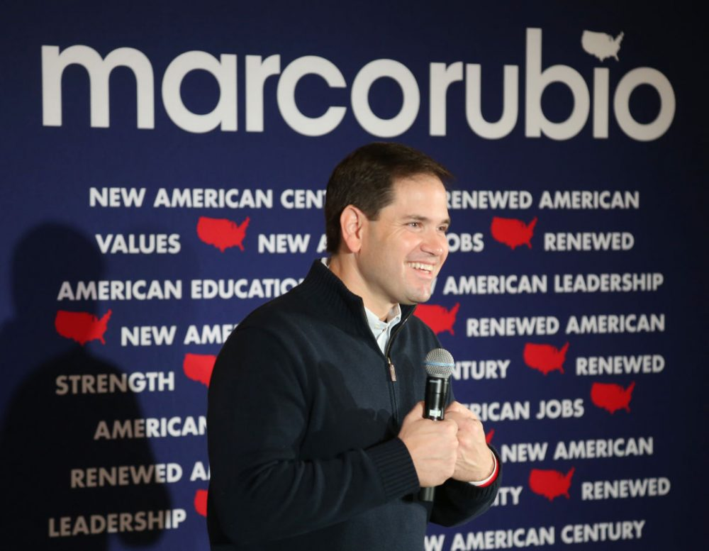 Republican presidential candidate Florida Sen. Marco Rubio speaks during a campaign stop in Rochester, New Hampshire. (Mary Schwalm/AP)