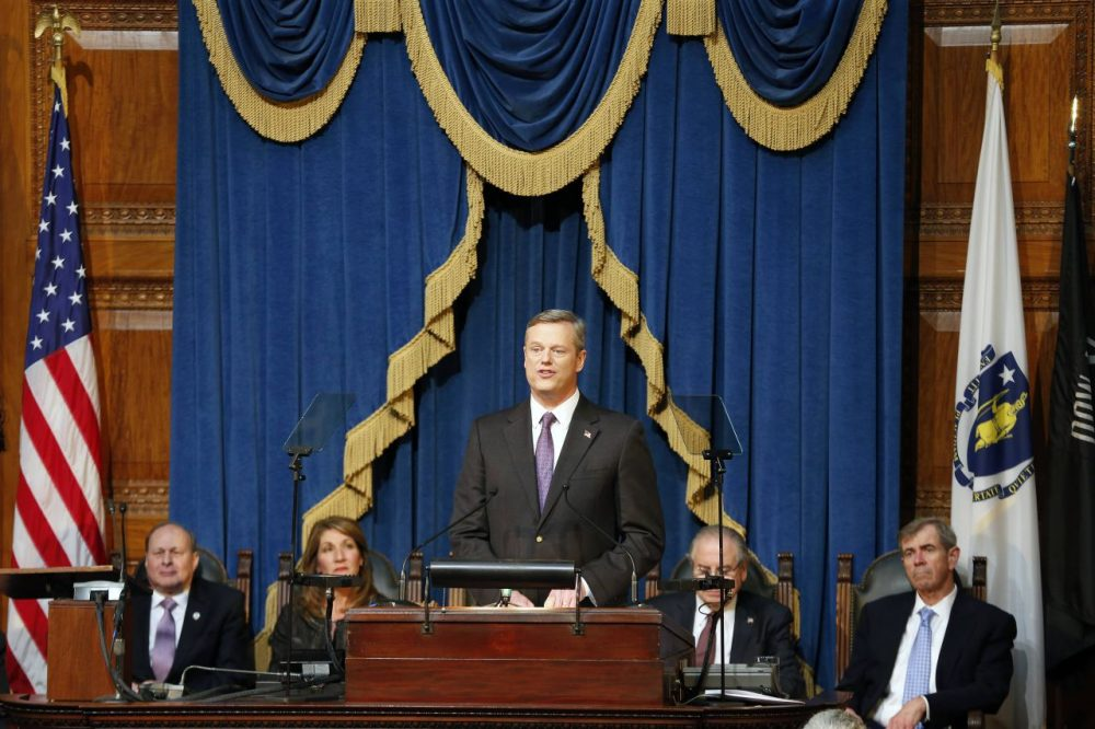 Massachusetts Gov. Charlie Baker delivers his State of the Commonwealth address at the State House Thursday night. (Michael Dwyer/AP)