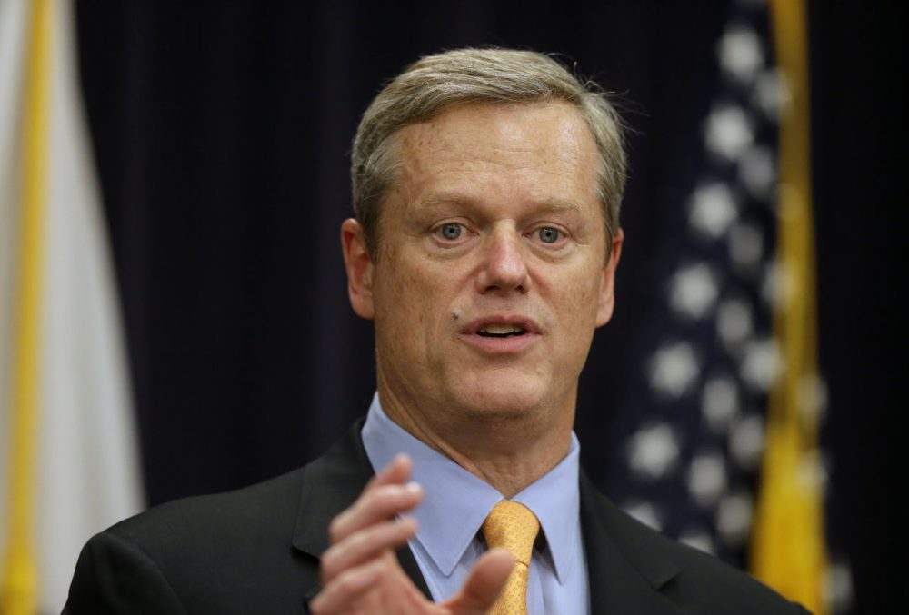 Massachusetts Gov. Charlie Baker speaks during a news conference at the State House in October. (Steven Senne/AP)