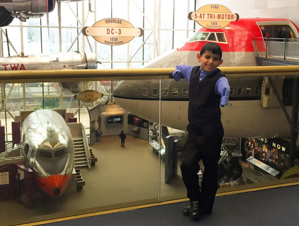 Ahmad Alkhalaf at the National Air and Space Museum -- the first place he wanted to visit when he got to Washington, D.C. (Courtesy Rep. Seth Moulton's Office)