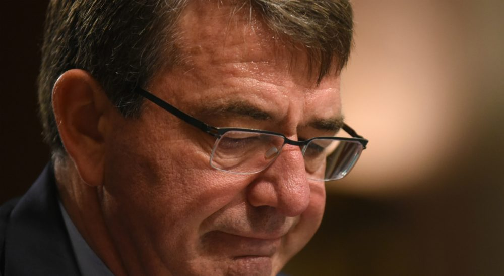 """Neta C. Crawford: """"One wonders if the Pentagon, reversing years of its own analysis and directives, is no longer concerned that increasing civilian casualties creates more enemies."""" Pictured: Defense Secretary Ash Carter pauses while testifying on Capitol Hill in Washington, Tuesday, Oct. 27, 2015, before the Senate Armed Services Committee. Carter said that the U.S. is willing to step up unilateral attacks against Islamic State militants in Iraq or Syria. (Kevin Wolf/AP)"""
