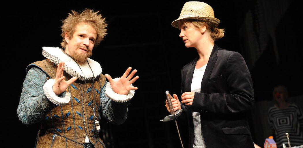 """Oliver Dimsdale and Poppy Miller in a previous production of Filter Theatre's """"Twelfth Night."""" (Courtesy Robert Day/ArtsEmerson)"""